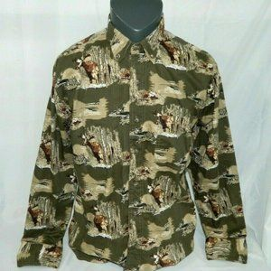 VTG Mens Large Moose Long Sleeve Button Down Shirt
